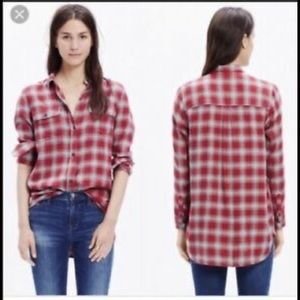 Madewell fairfax red & grey plaid button down